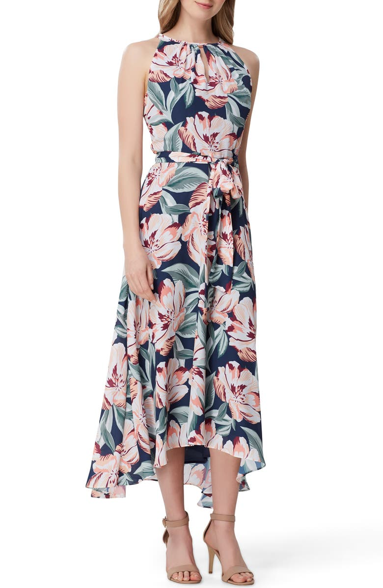TAHARI Print Sleeveless Tie Waist Maxi Dress, Main, color, NAVY CALI FLORAL