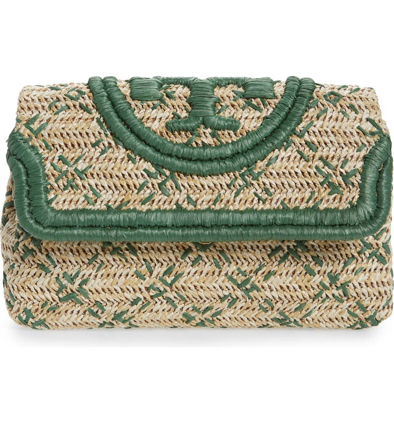 TORY BURCH Small Fleming Straw Clutch, Main, color, NATURAL/ ARUGULA