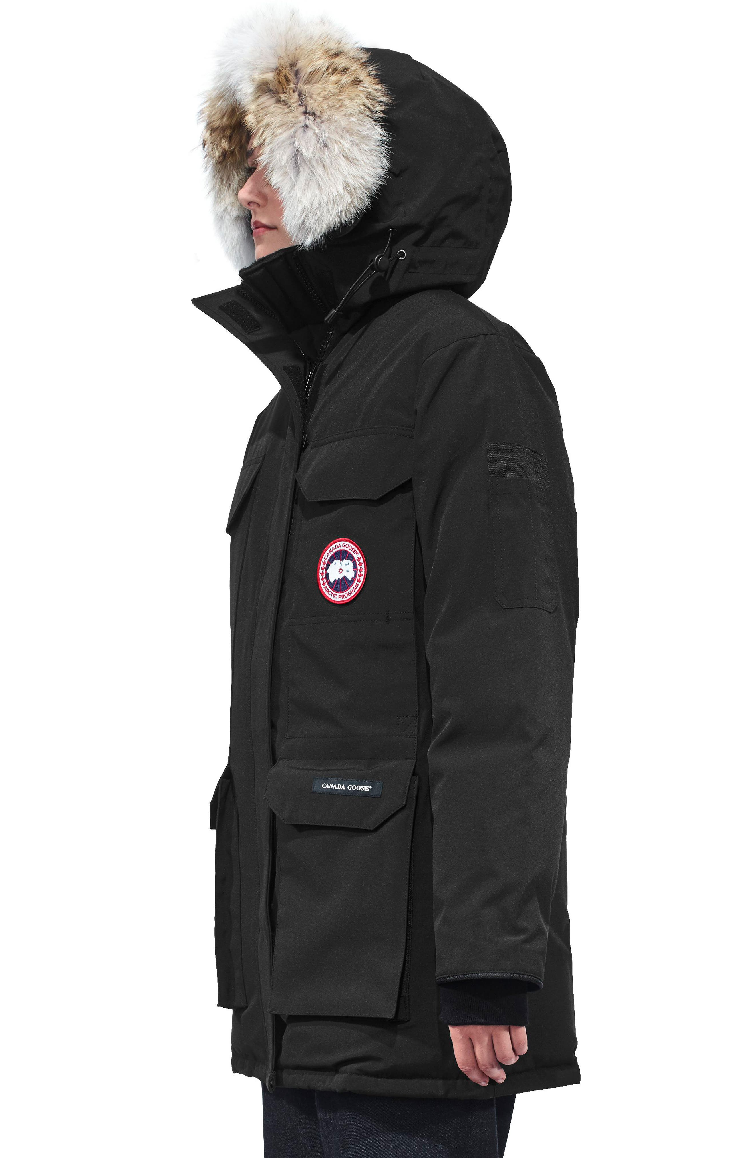 ,                             Expedition Hooded Down Parka with Genuine Coyote Fur Trim,                             Alternate thumbnail 3, color,                             BLACK