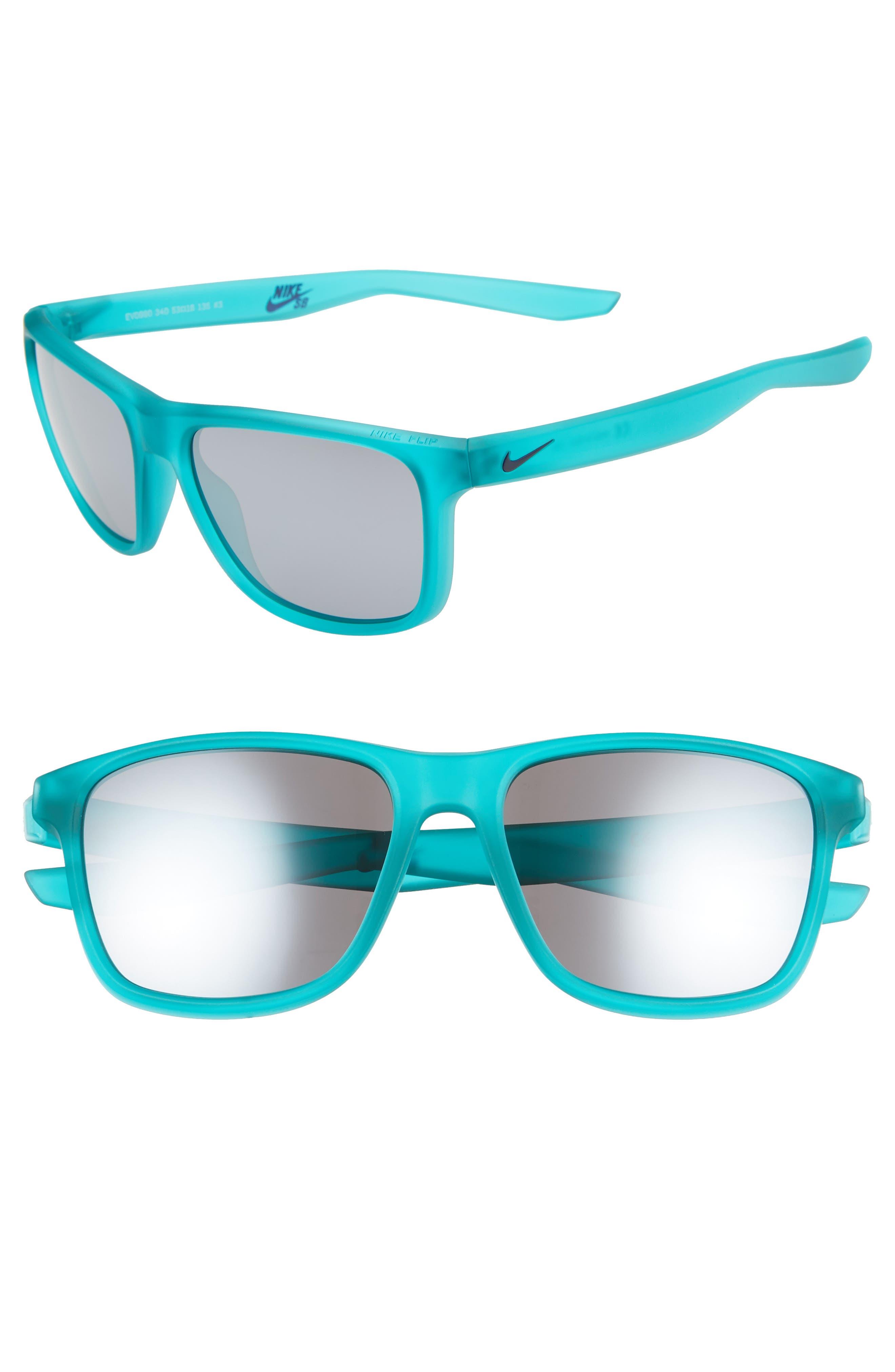 Nike Flip 5m Mirrored Sunglasses - Matte Clear Jade/ Grey