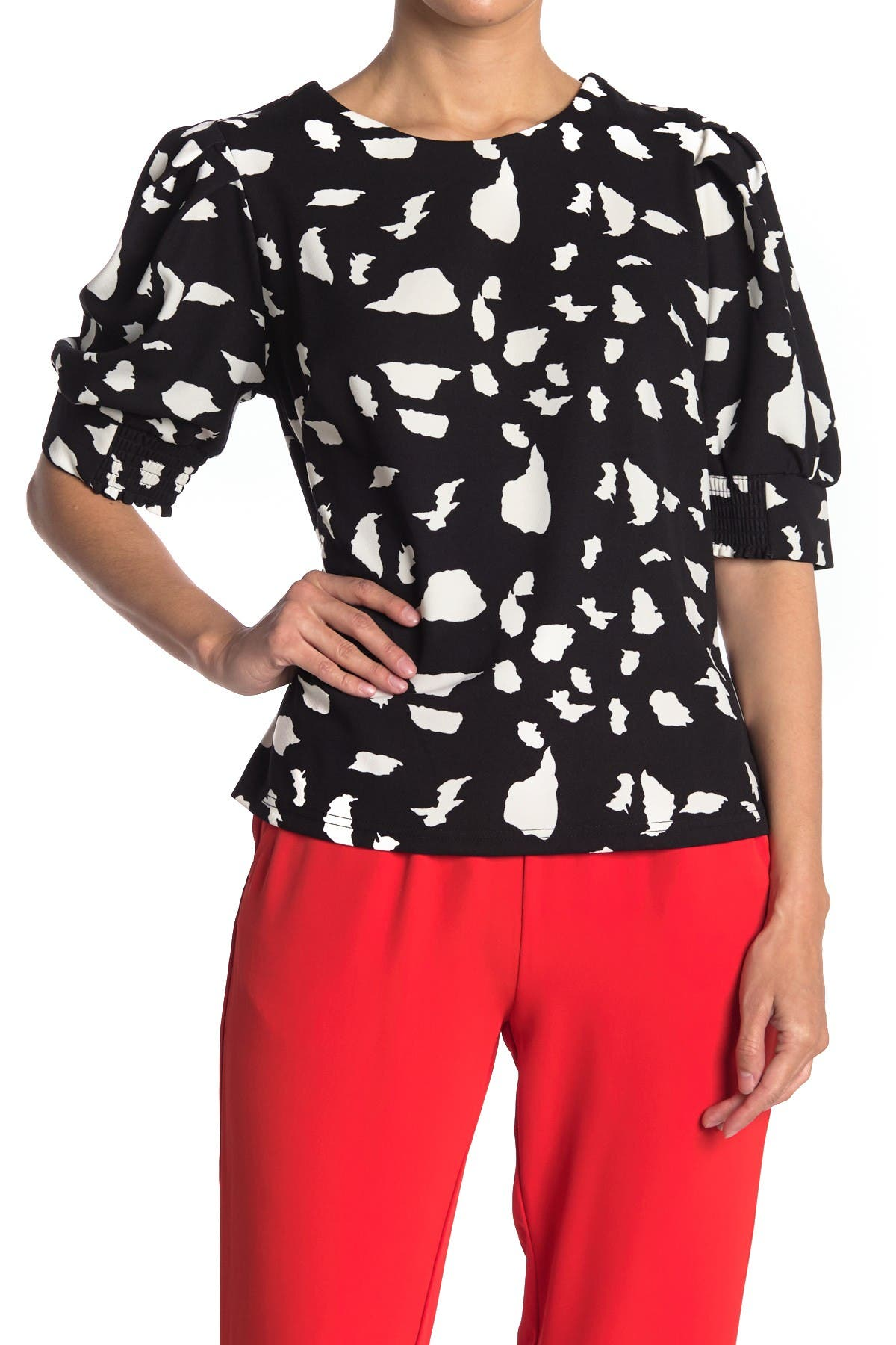 Image of MELLODAY Zip Back Puff Sleeve Knit Blouse