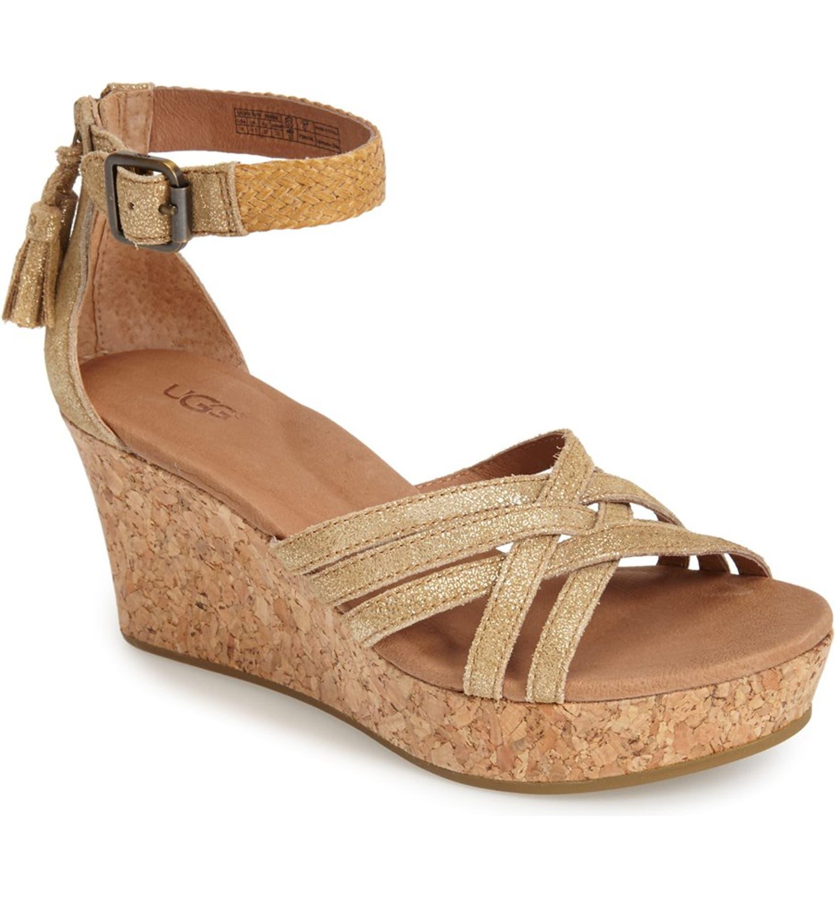 f2d966a70fb Australia 'Lillie' Glitter Suede Wedge Sandal
