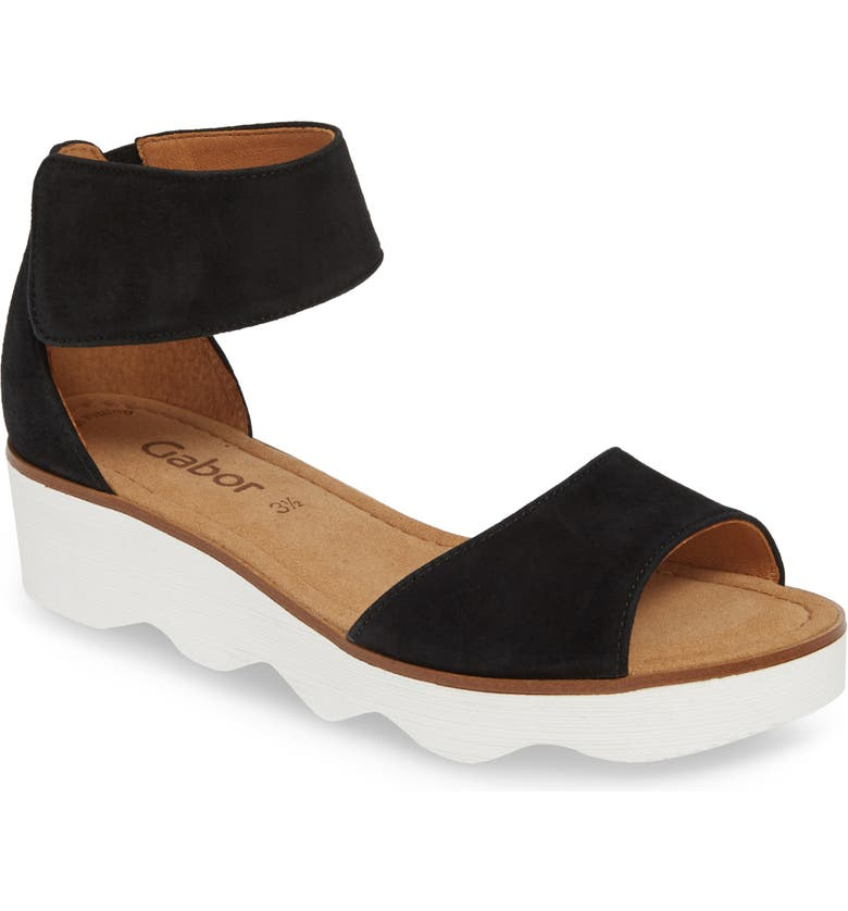 GABOR Wedge Sandal, Main, color, BLACK NUBUCK LEATHER