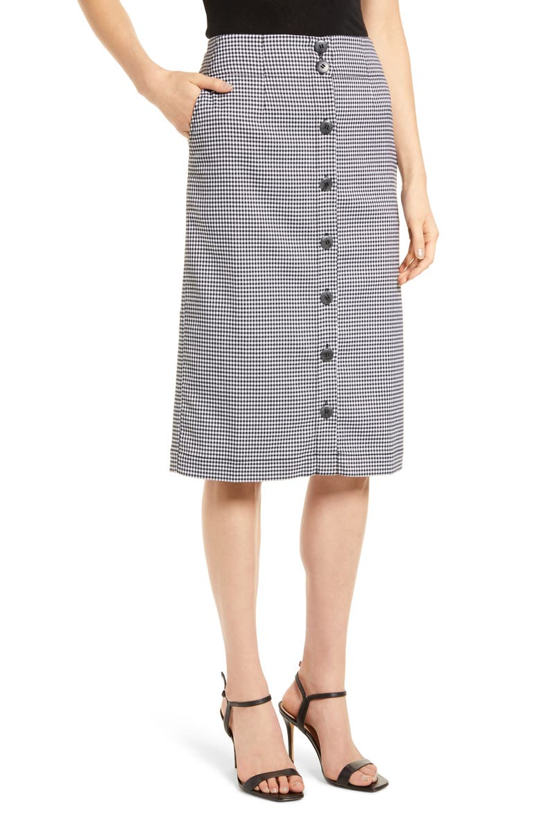 CHELSEA28 Check Button Front Skirt, Main, color, BLACK CLAIRE GINGHAM