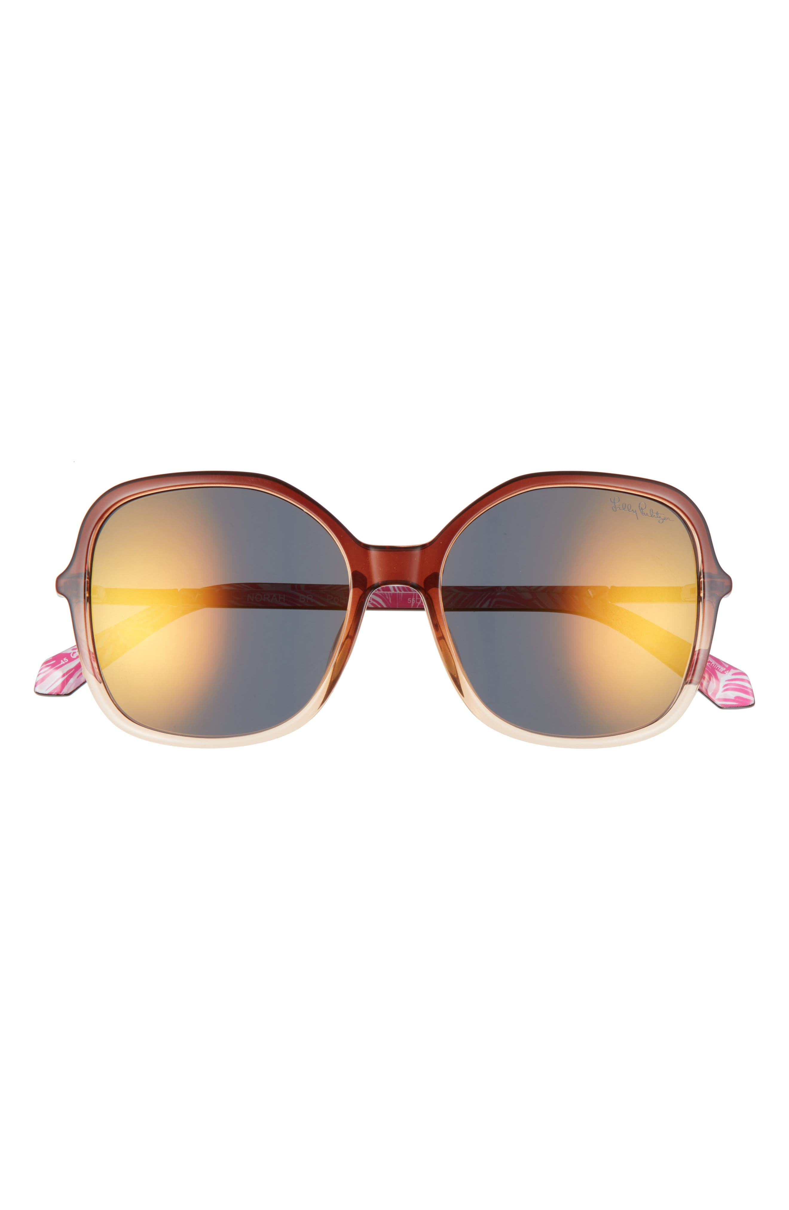 Square frames play up the vintage-cool style of these essential sunglasses furnished with glare-reducing, scratch-resistant polarized lenses. Style Name: Lilly Pulitzer Norah 55mm Polarized Square Sunglasses. Style Number: 6104394. Available in stores.