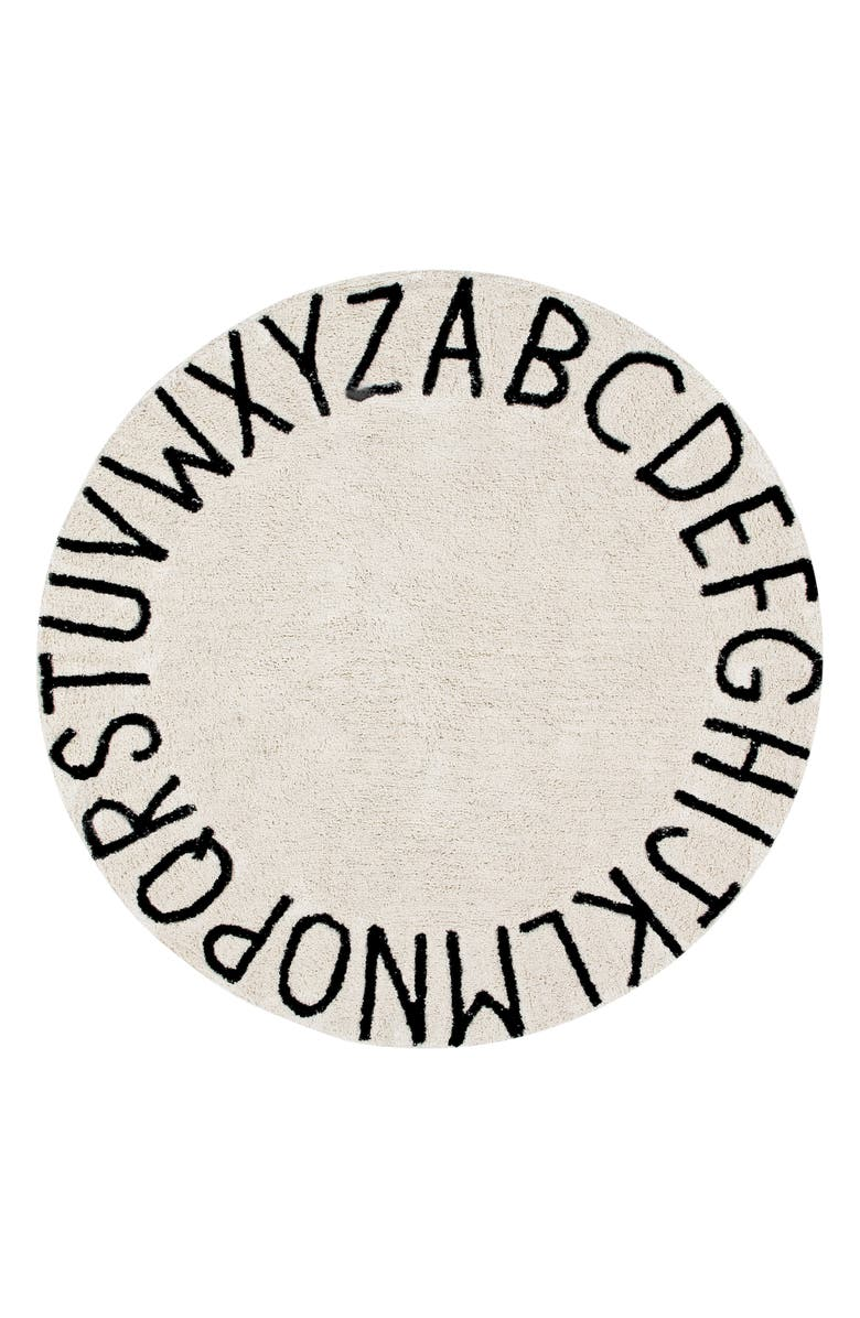 LORENA CANALS A to Z Rug, Main, color, ROUND BLACK