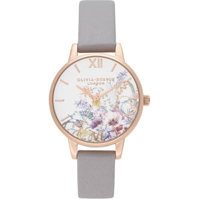 Olivia Burton Enchanted Garden Leather Strap Watch, 30Mm