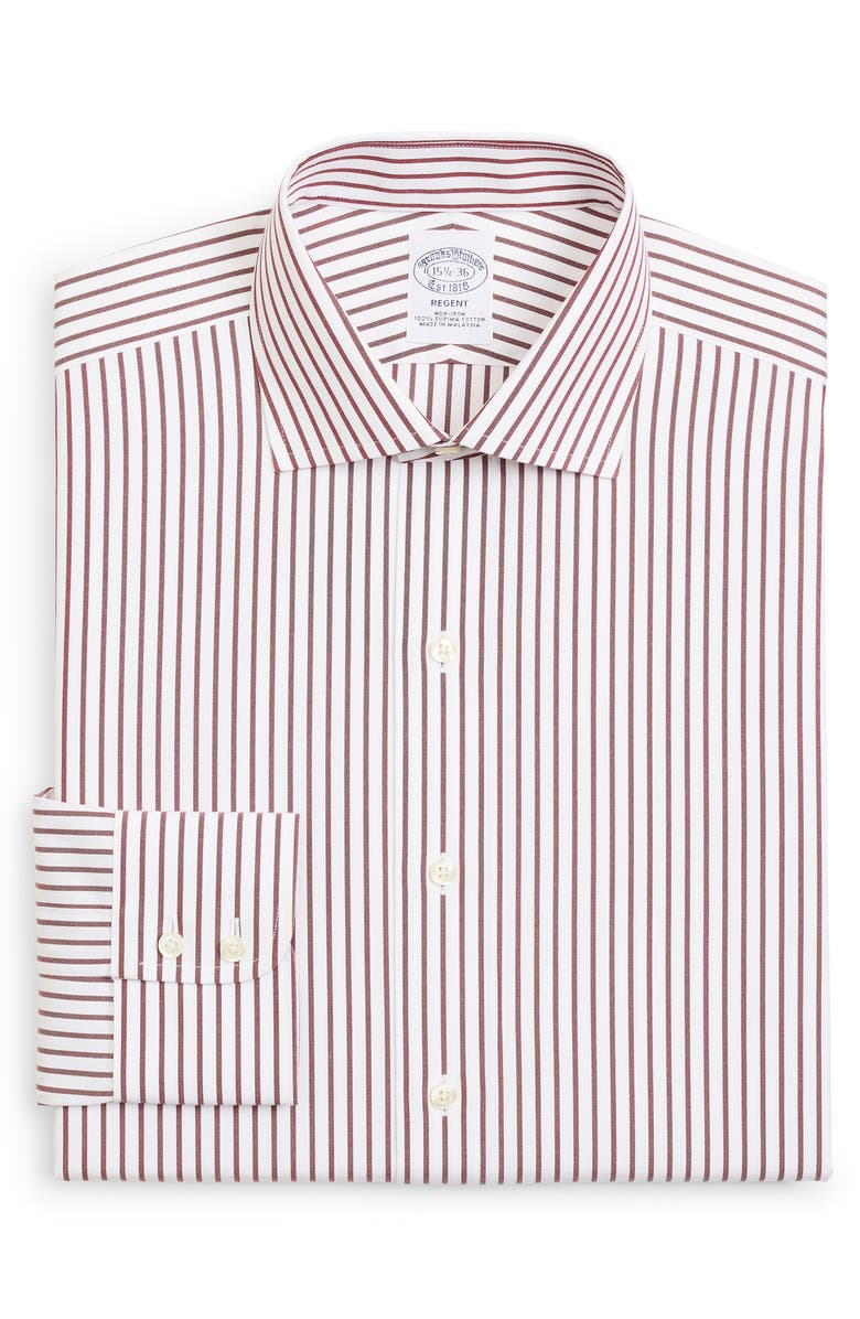 BROOKS BROTHERS Regent Regular Fit Stripe Dress Shirt, Main, color, DARK RED