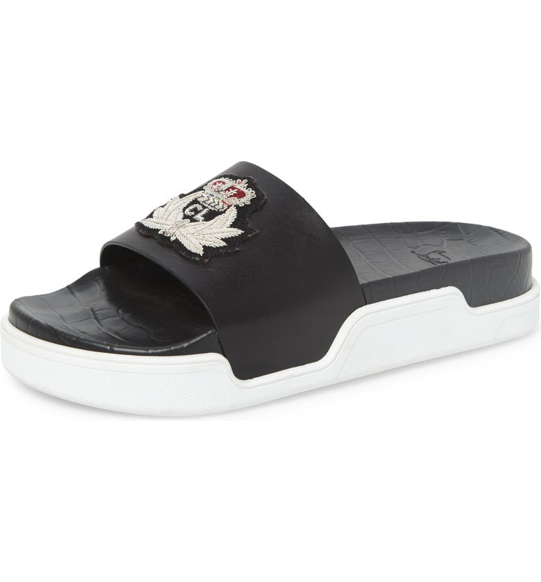 CHRISTIAN LOUBOUTIN Pool Beau Sport Slide, Main, color, BLACK/SILVER