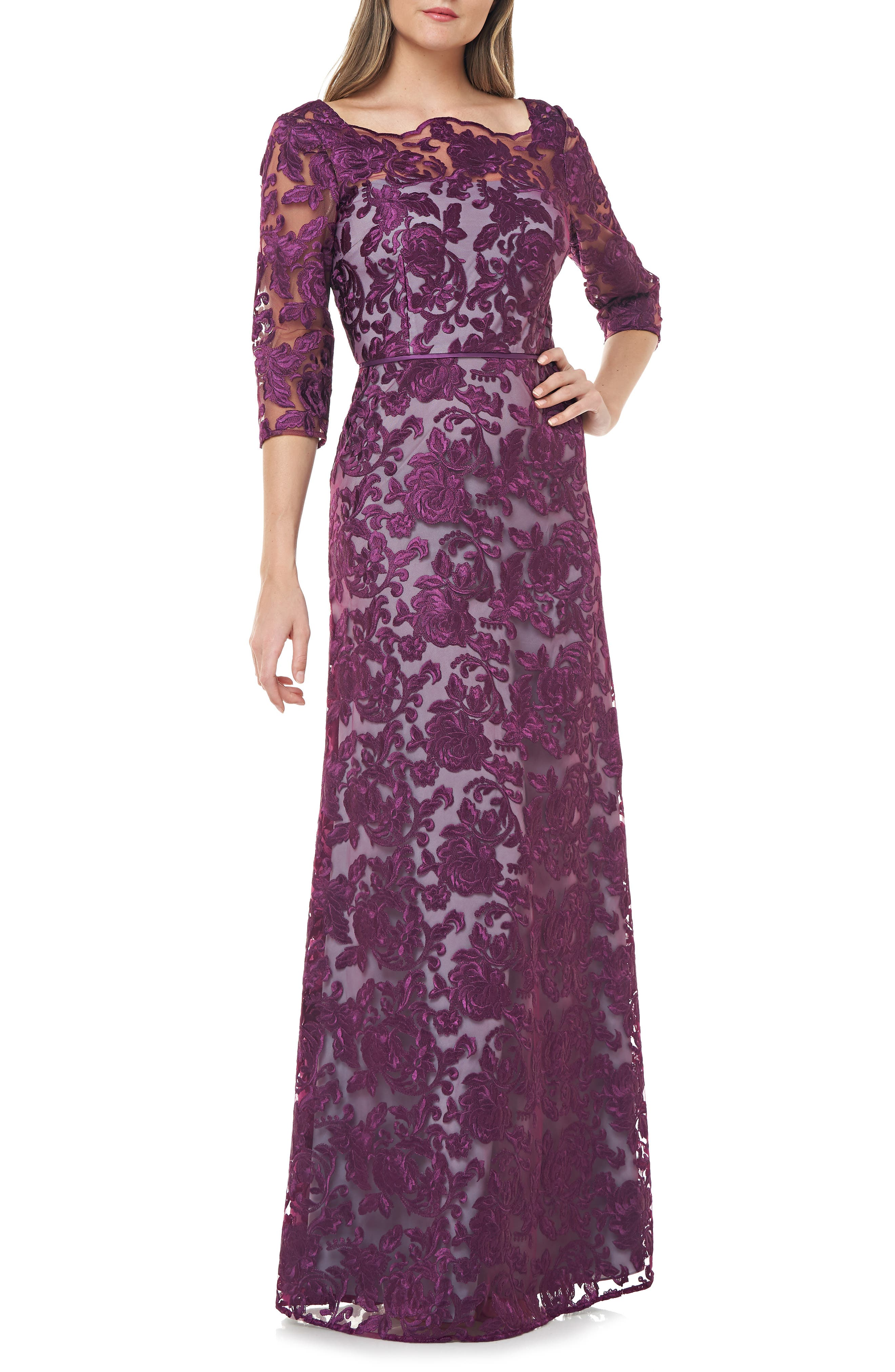 Titanic Dresses & Costumes   1912 Dresses Womens Js Collections Scallop Neck Embroidered Lace Gown Size 12 - Purple $348.00 AT vintagedancer.com