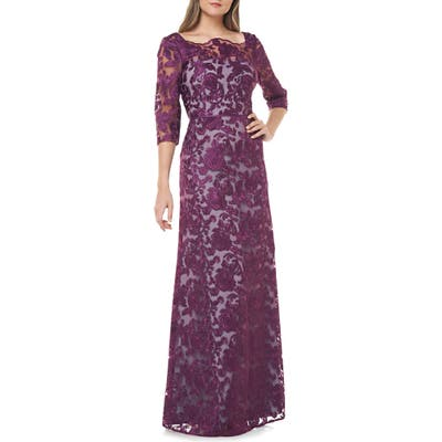 Js Collections Scallop Neck Embroidered Lace Gown, Purple