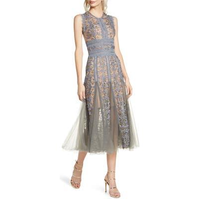 Bronx And Banco Megan Grey Floral Lace Midi Dress, Grey