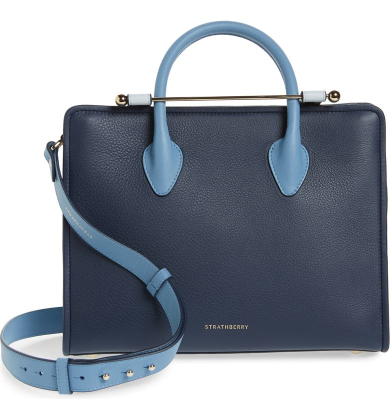 STRATHBERRY Midi Colorblock Leather Tote, Main, color, ALICE BLUE/NAVY/ILLUSION BLUE