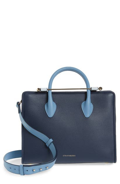 Strathberry Midi Colorblock Leather Tote In Alice Blue/navy/illusion Blue