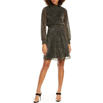 Sam Edelman Metallic Long Sleeve Smocked Dress, Metallic