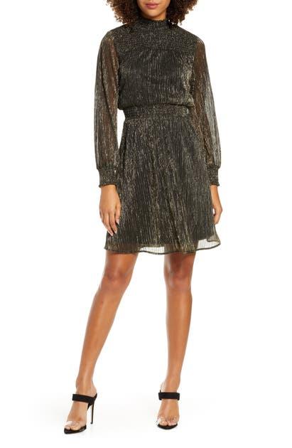 Sam Edelman Dresses METALLIC LONG SLEEVE SMOCKED DRESS