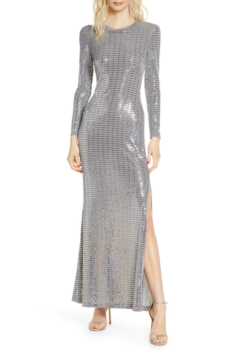 MORGAN & CO. Long Sleeve Sequin Knit Gown, Main, color, STEEL