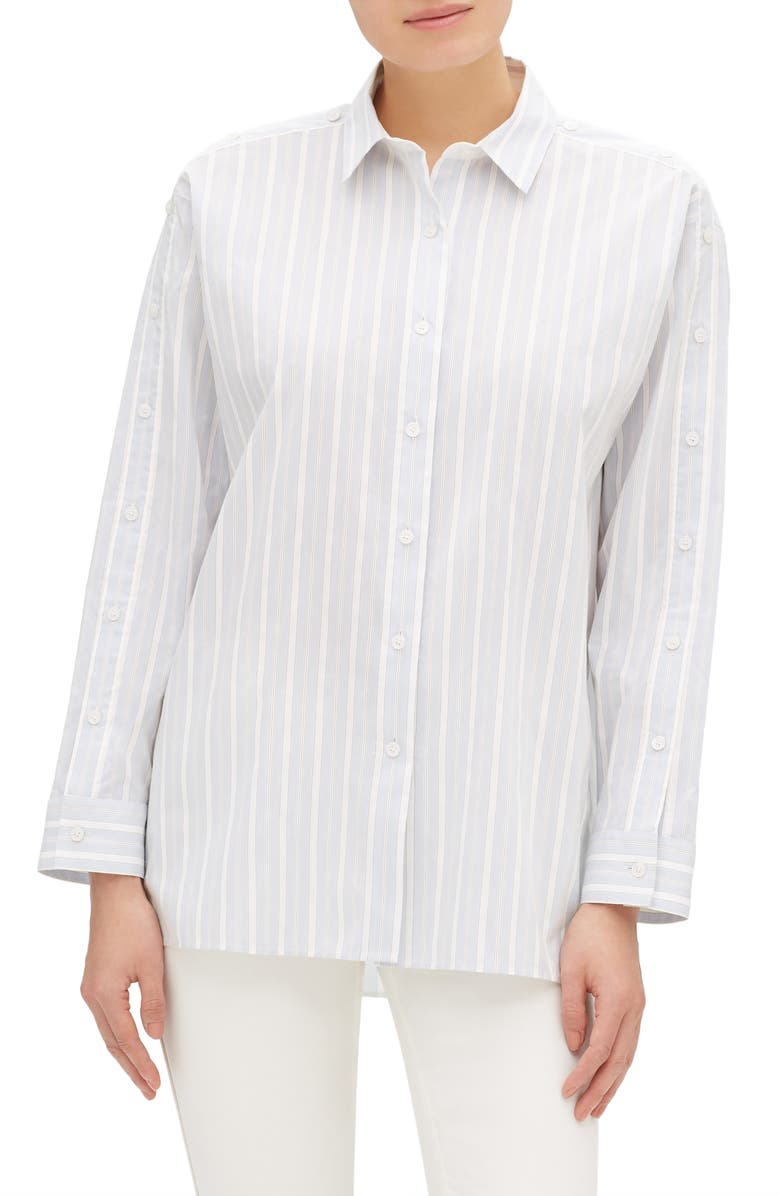LAFAYETTE 148 NEW YORK Trinity Boulevard Stripe Blouse, Main, color, 400