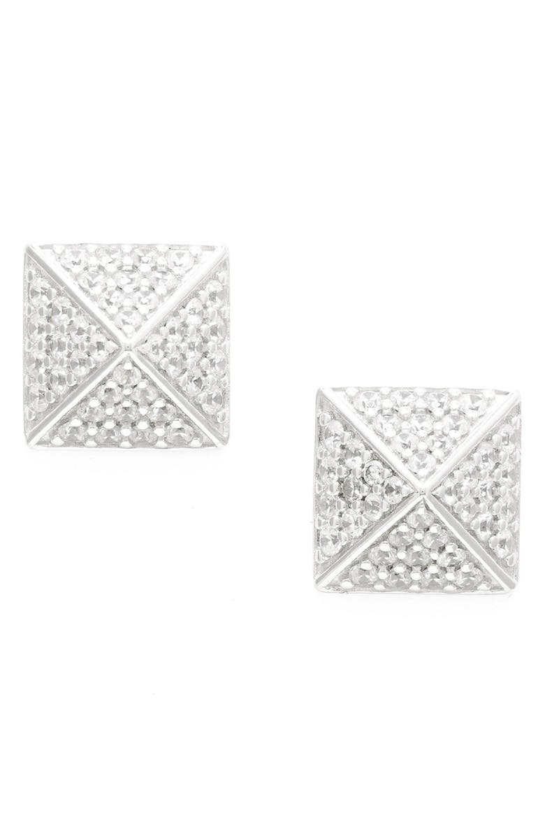 SUGAR BEAN JEWELRY Pavé Pyramid Stud Earrings, Main, color, 040