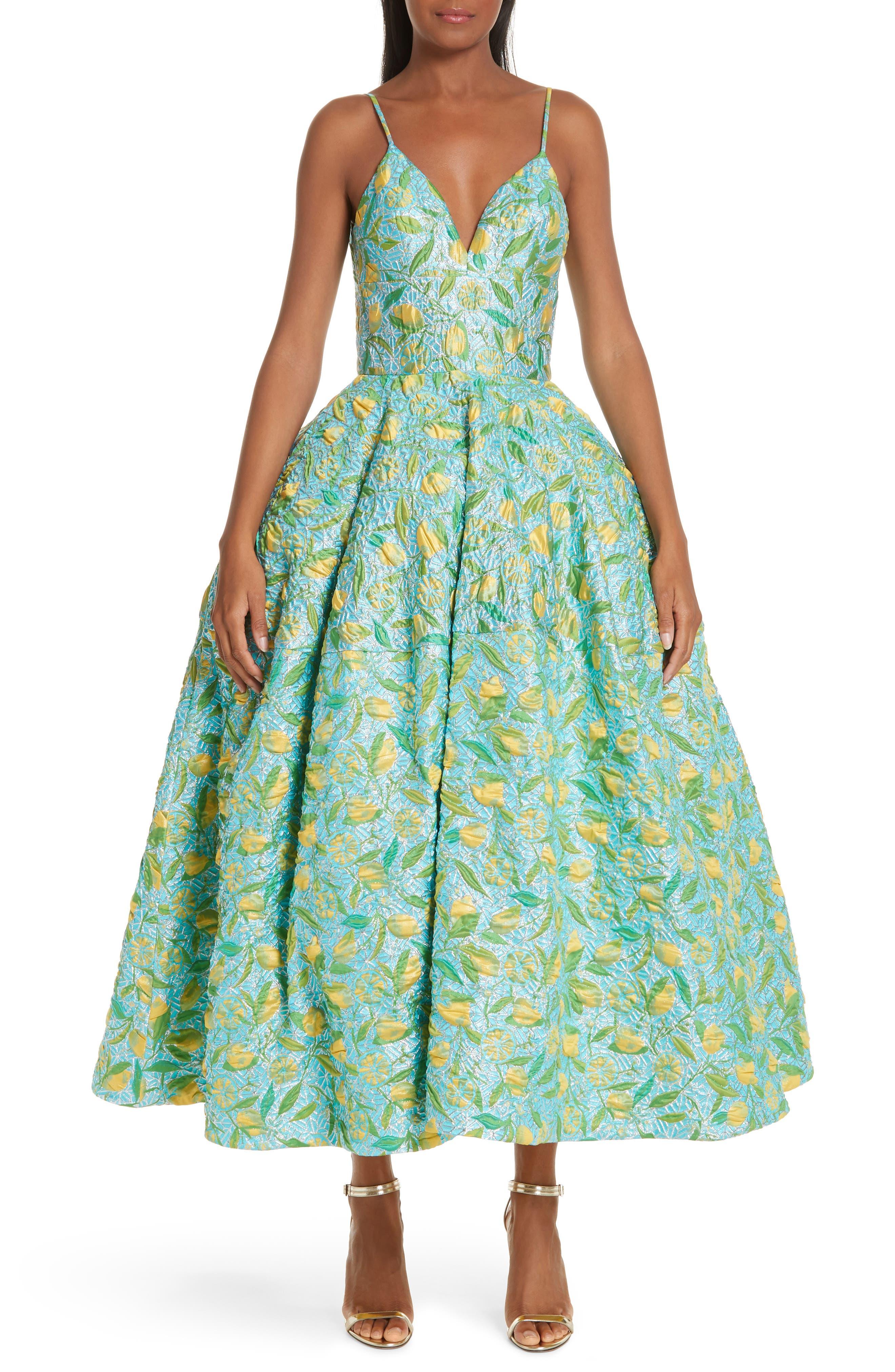 ,                             Floral Evening Dress,                             Alternate thumbnail 6, color,                             LEMON BROCADE