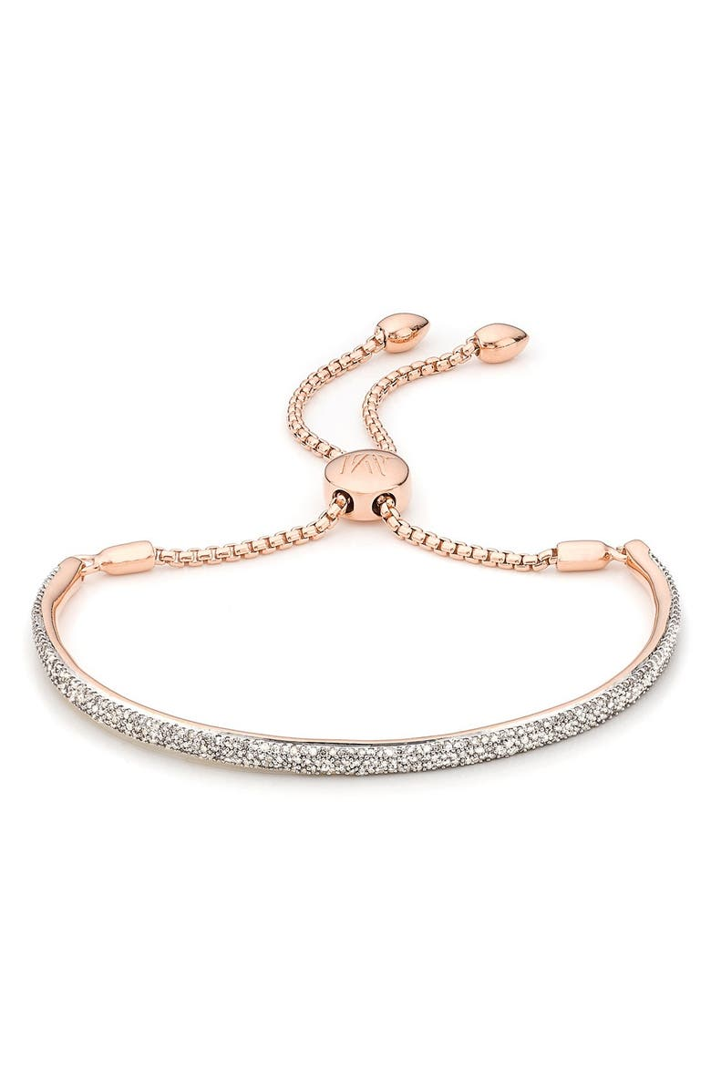 MONICA VINADER Fiji Diamond Bar Bracelet, Main, color, ROSE GOLD
