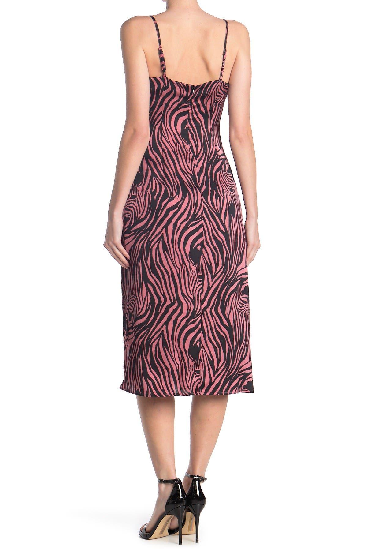 Re:named apparel Pink Zebra Slip Dress