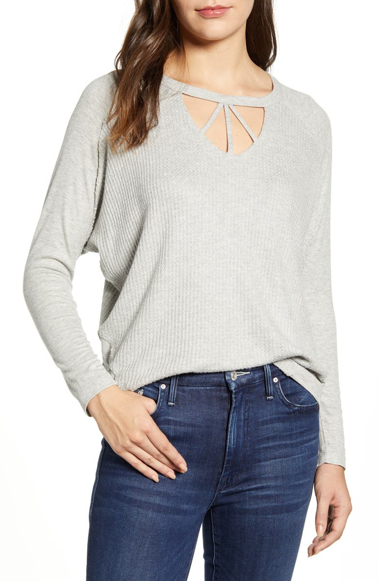 WIT & WISDOM Cutout Neck Mixed Knit Top, Main, color, HEATHER GREY