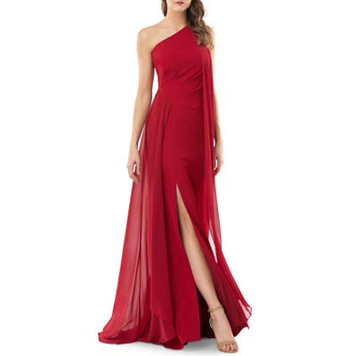 Carmen Marc Valvo Infusion One-Shoulder Crepe Gown, Red
