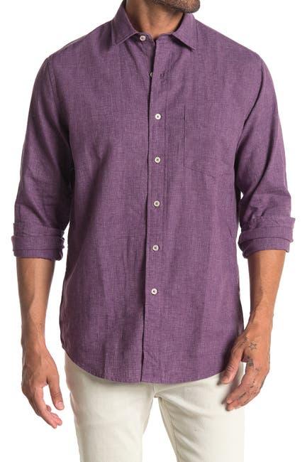Image of Cole Haan Linen Blend Long Sleeve Sport Shirt