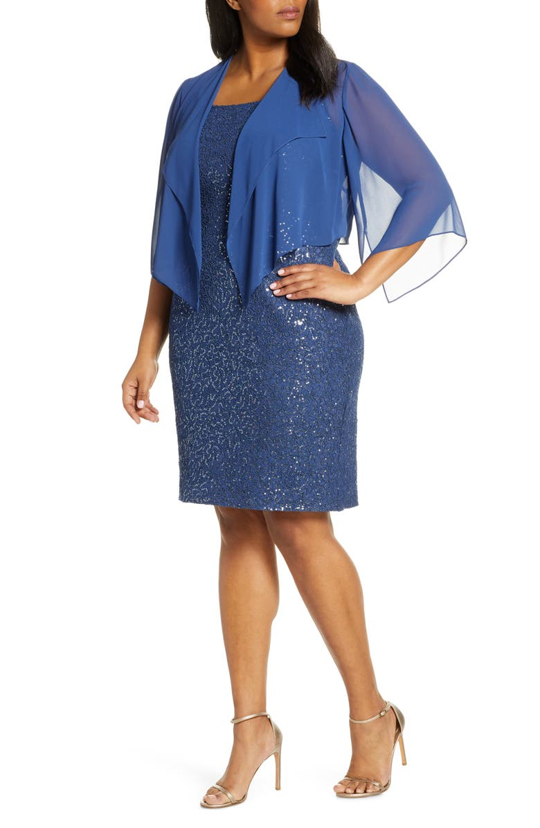 ALEX EVENINGS Sequin Lace Cocktail Dress with Capelet, Main, color, WEDGEWOOD