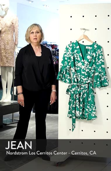 Bell Sleeve Faux Wrap Dress, sales video thumbnail