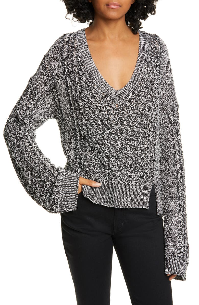 JONATHAN SIMKHAI V-Neck Sweater, Main, color, BLACK COMBO