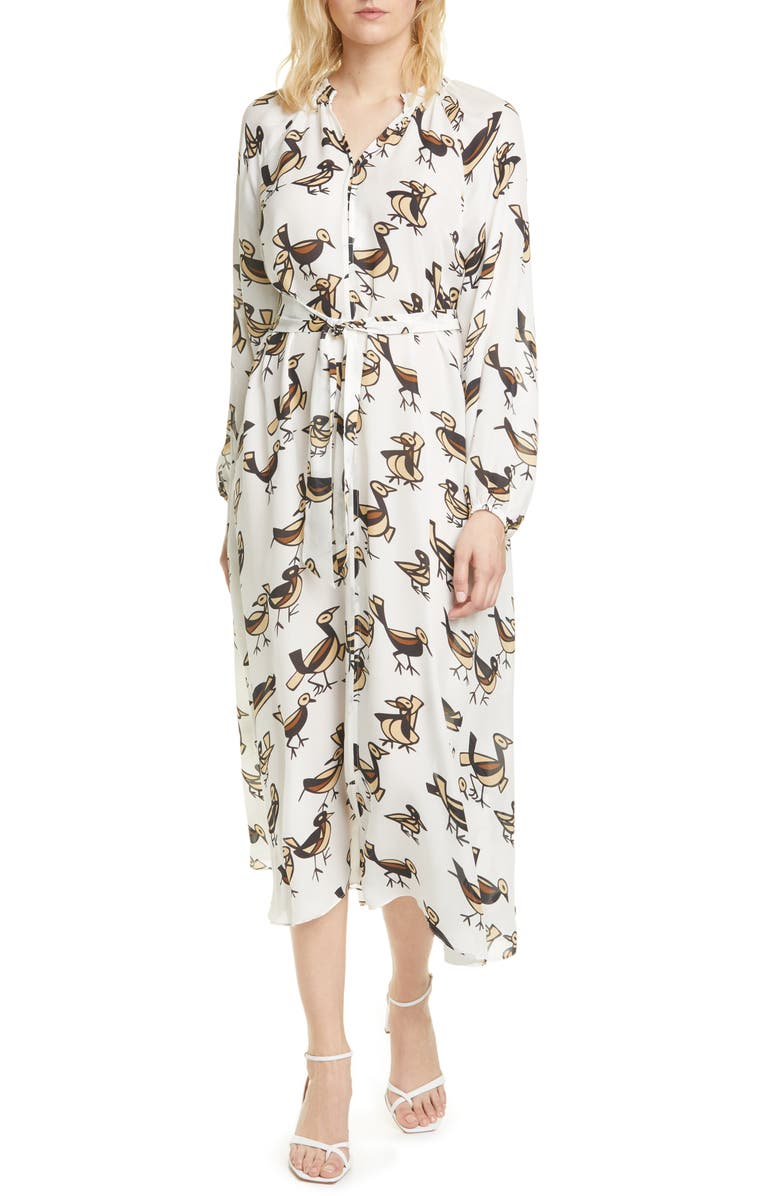 SAMSØE SAMSØE Kaia Long Sleeve Silk Midi Dress, Main, color, 100