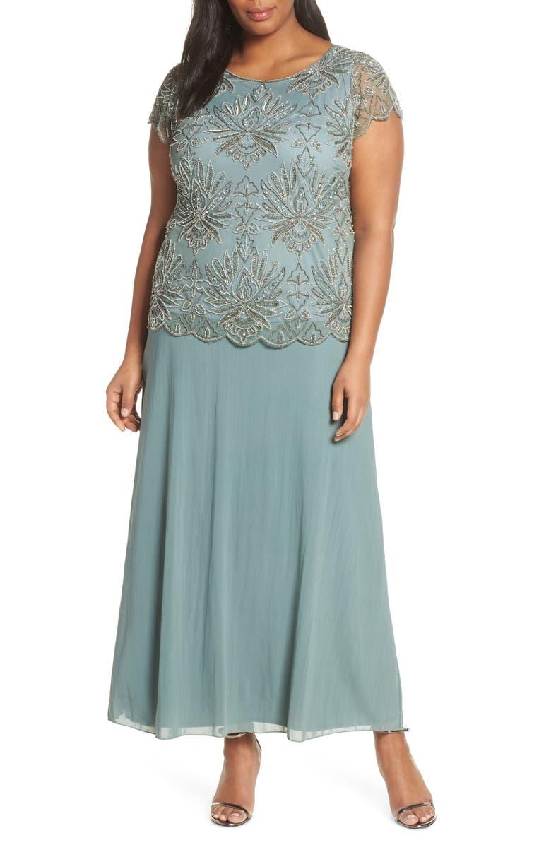 PISARRO NIGHTS Embellished Bodice Evening Dress, Main, color, SAGE