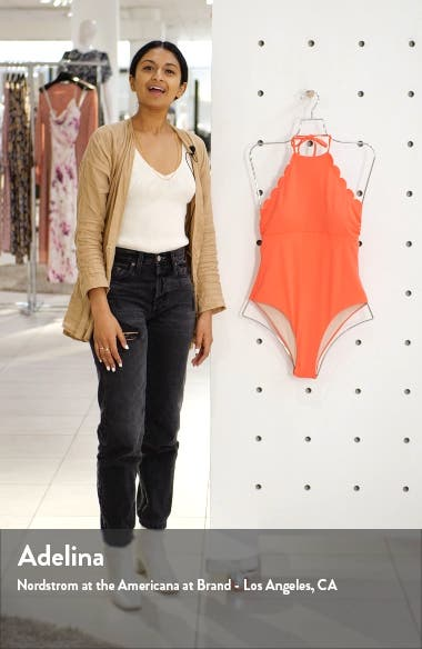 High Neck Scalloped One-Piece Swimsuit, sales video thumbnail