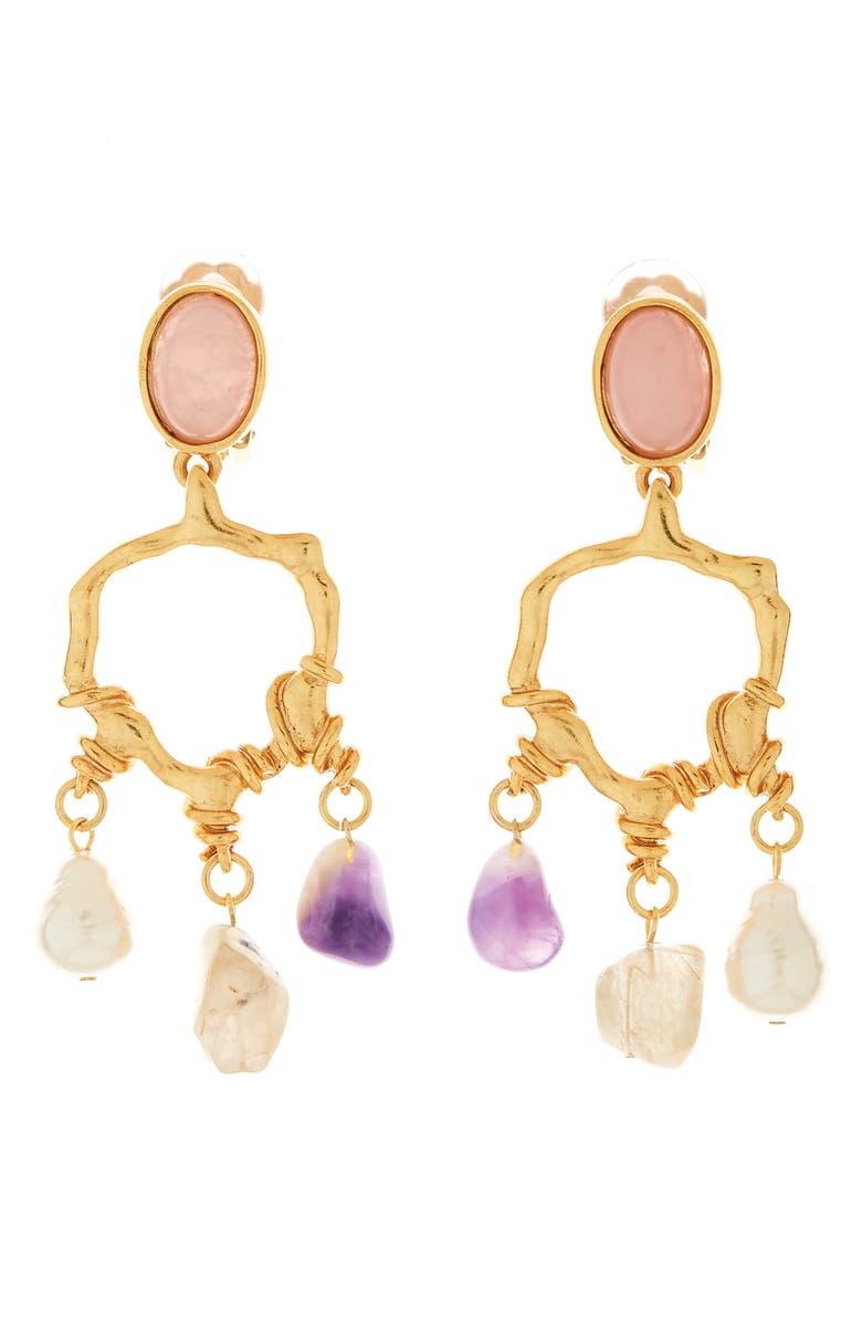 OSCAR DE LA RENTA Quartz Nugget Chandelier Earrings, Main, color, GOLD