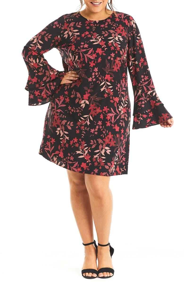 ESTELLE Dark Musk Long Sleeve Dress, Main, color, PRINT