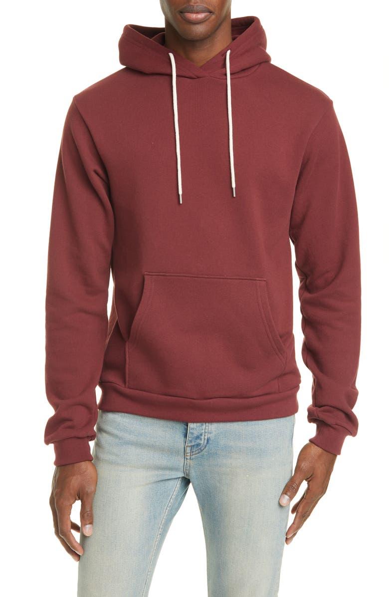 JOHN ELLIOTT Solid Hooded Sweatshirt, Main, color, OXBLOOD