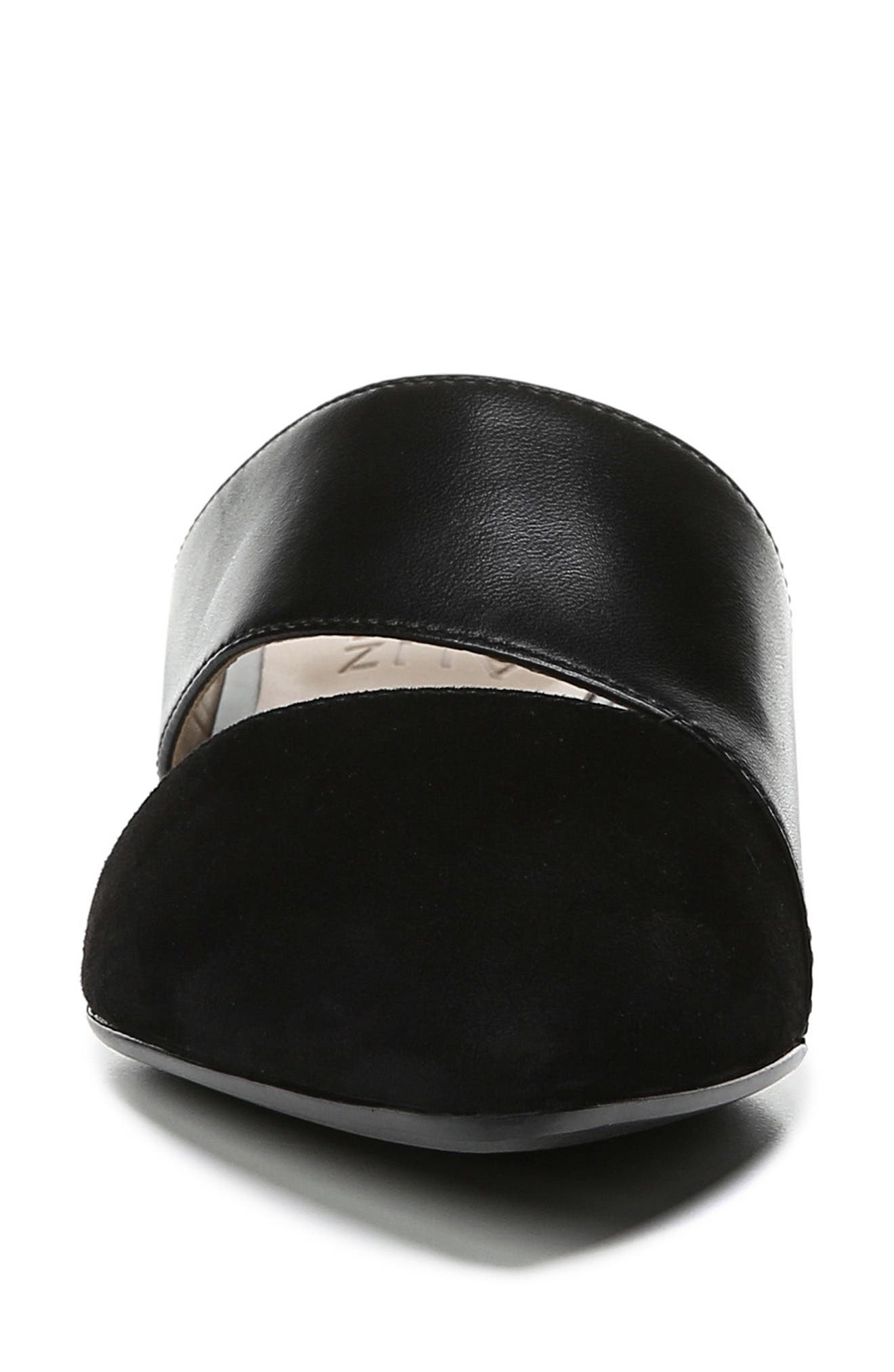 ,                             Bev Pointy Toe Mule,                             Alternate thumbnail 4, color,                             BLACK SUEDE/ LEATHER