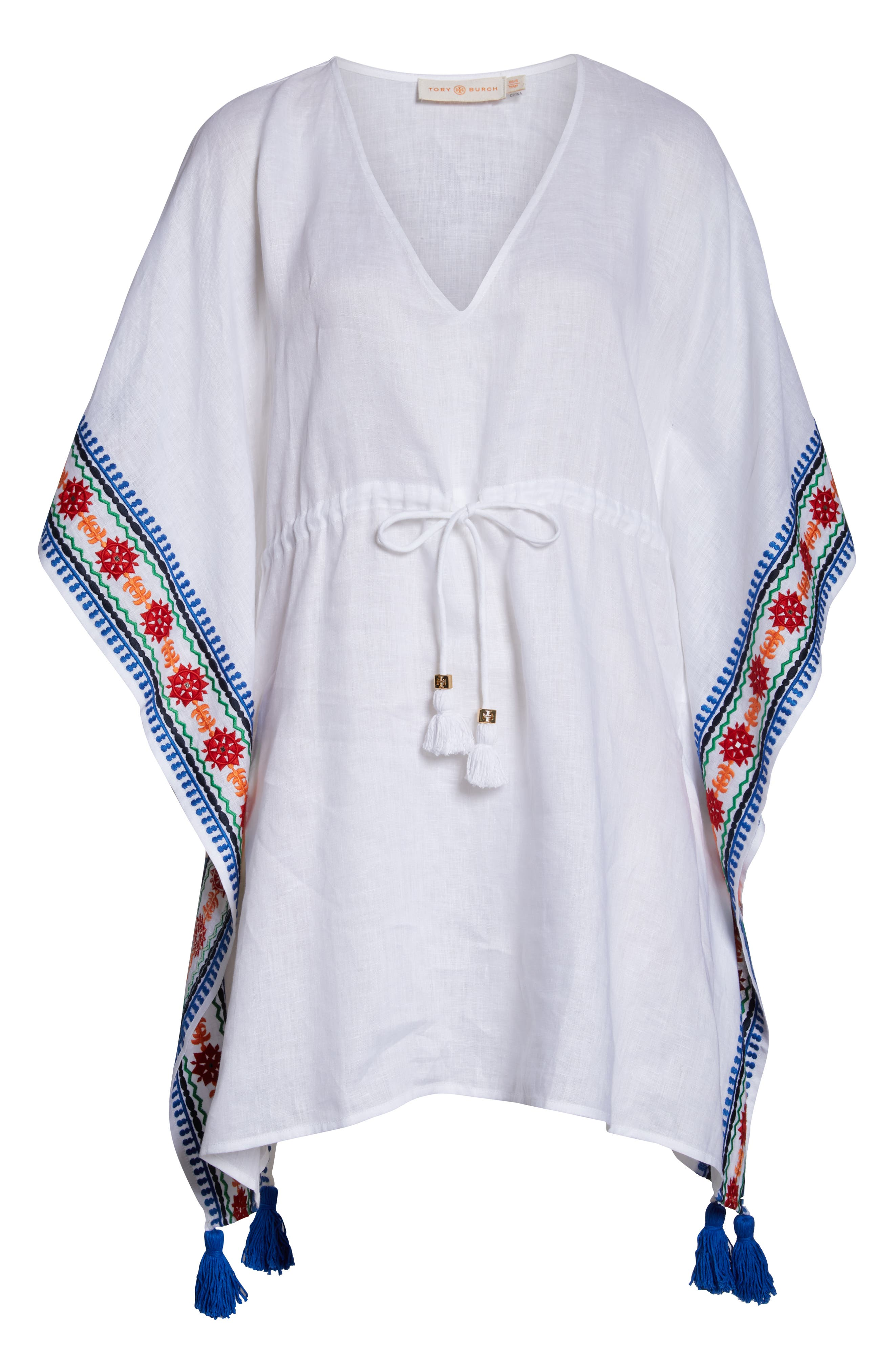 ,                             Embroidered Cover-Up Caftan,                             Alternate thumbnail 6, color,                             WHITE