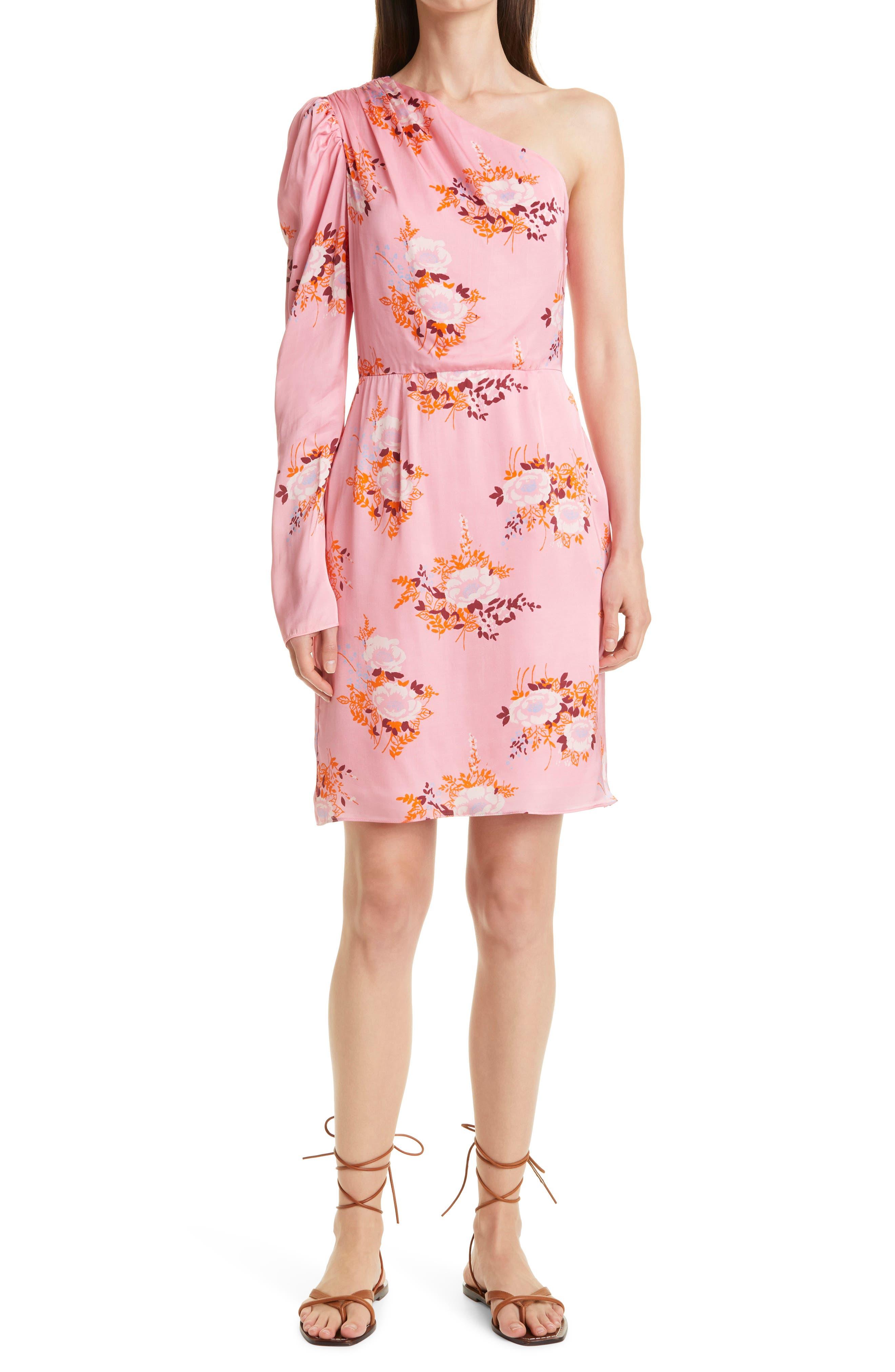 Floral Print One-Shoulder Dress