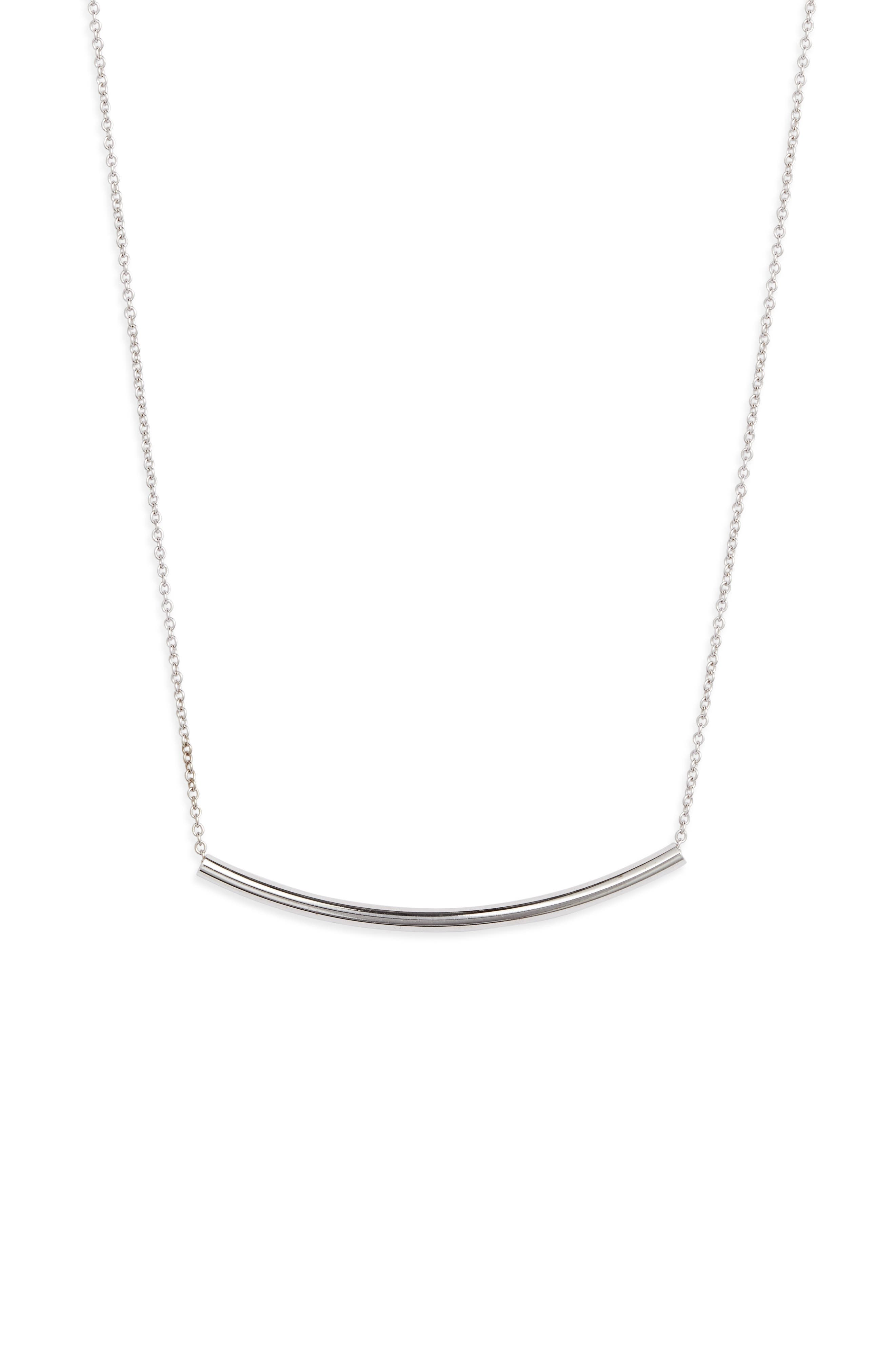 This simple and gleaming pendant makes an elegant piece to wear alone or an endlessly versatile one to layer with other necklaces. Style Name: Sterling Forever Curved Bar Pendant Necklace. Style Number: 5931885. Available in stores.