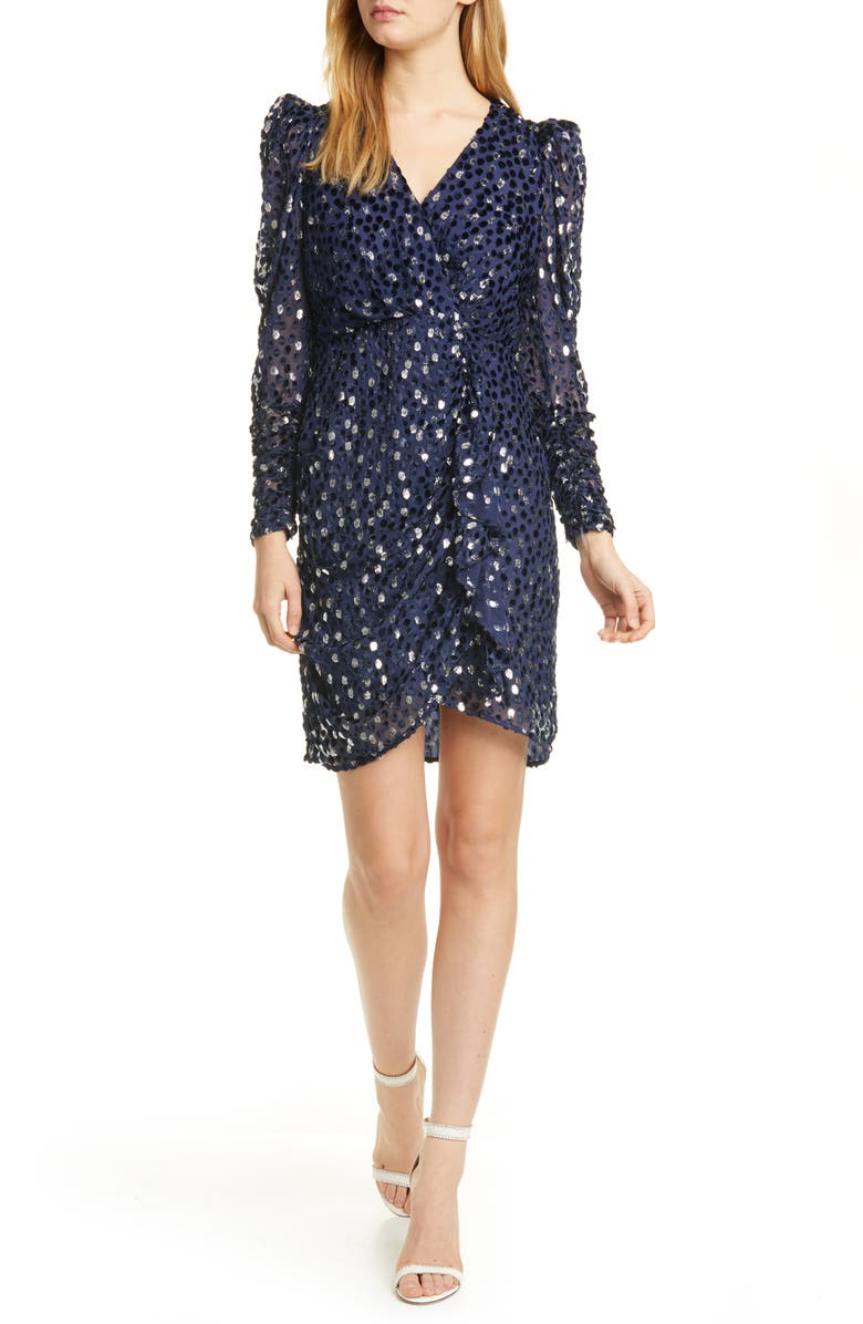 KATE SPADE NEW YORK scatter dot metallic & velvet textured long sleeve dress, Main, color, CELESTIAL BLUE