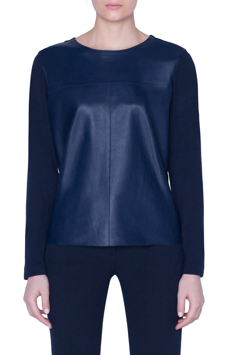 AKRIS Leather Front Jersey Top, Main, color, NAVY