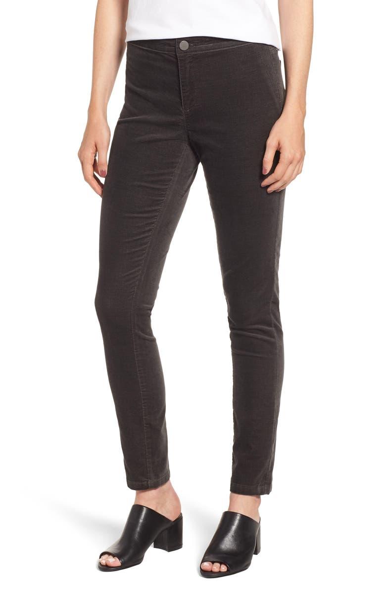 NIC+ZOE Stretch Velvet Skinny Pants, Main, color, GRAPHITE