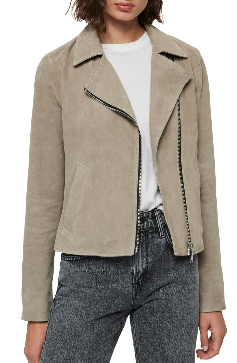 ALLSAINTS Vela Suede Biker Jacket, Main, color, SAGE GREEN