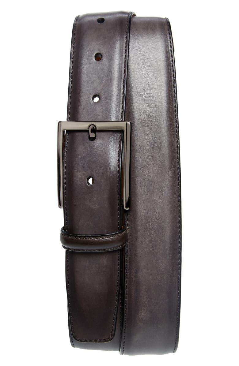 MAGNANNI Leather Belt, Main, color, GREY