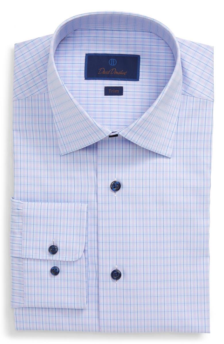 DAVID DONAHUE Plaid Trim Fit Dress Shirt, Main, color, BLUE/ LILAC