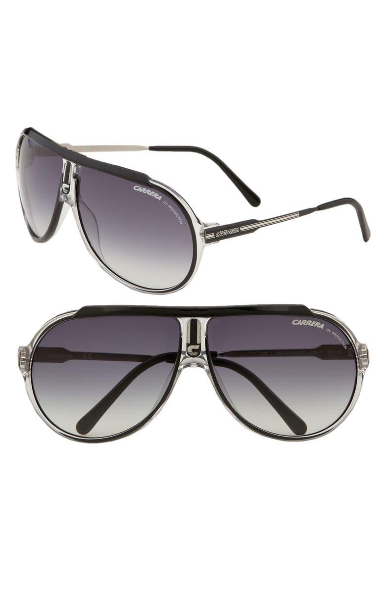 CARRERA EYEWEAR 'Endurance' 63mm Aviator Sunglasses, Main, color, 001