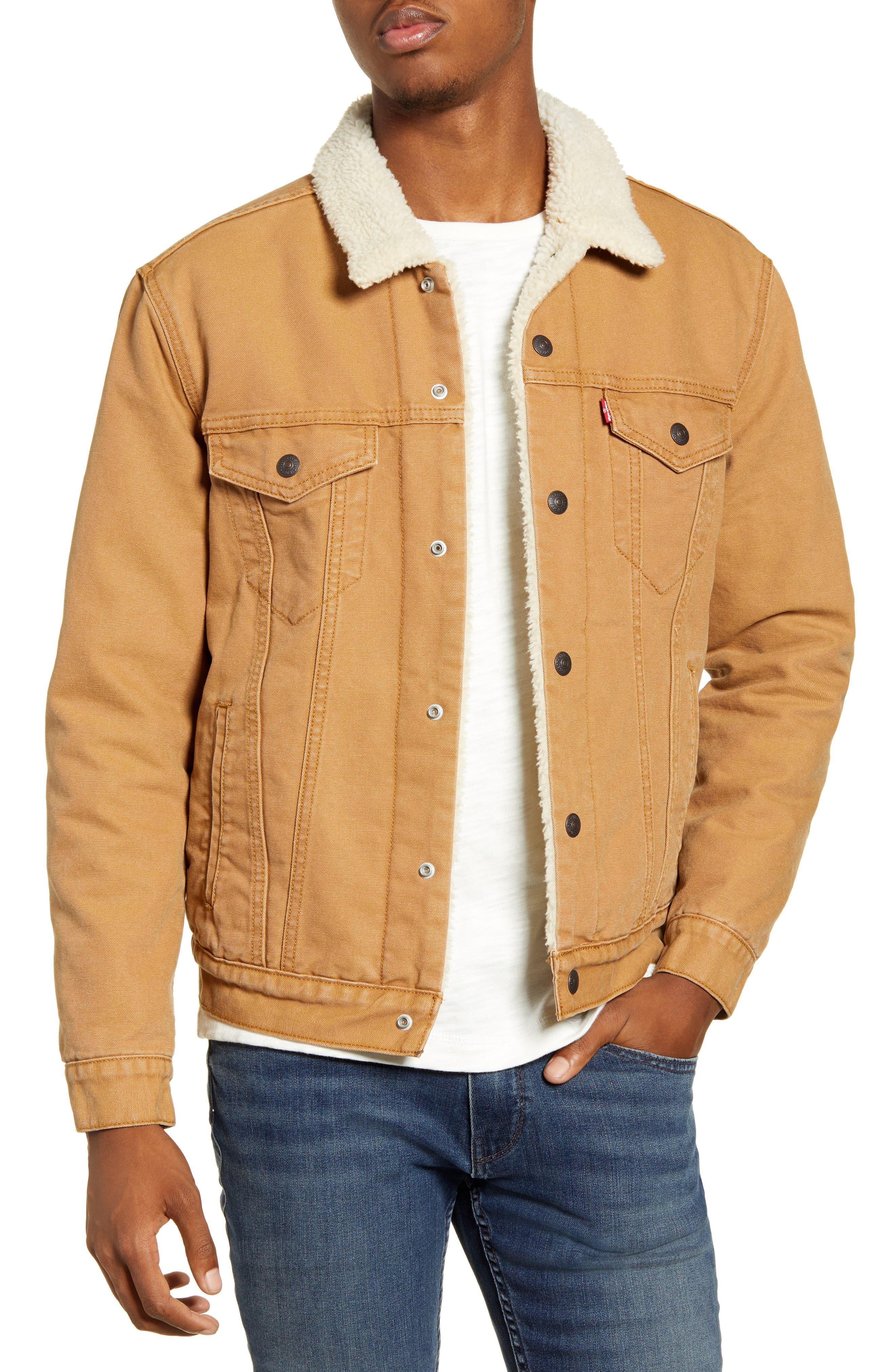 70s Jackets & Hippie Vests, Ponchos Mens Levis Type Iii Fleece Lined Denim Trucker Jacket $128.00 AT vintagedancer.com